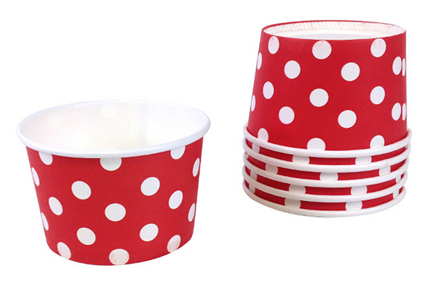 Red Polka Dot Ice Cream Cups