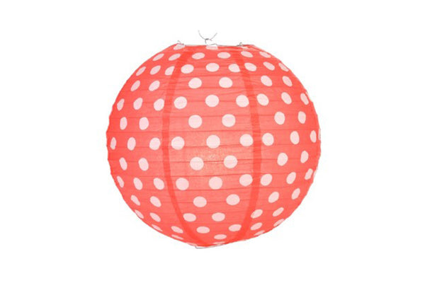 Red Polka Dot Round Paper Lanterns - Pop Roc Parties