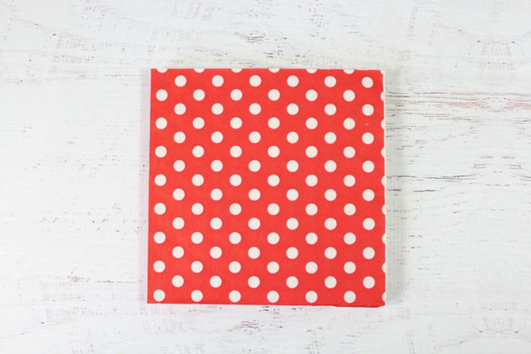 Red Polka Dot Napkins - Pop Roc Parties