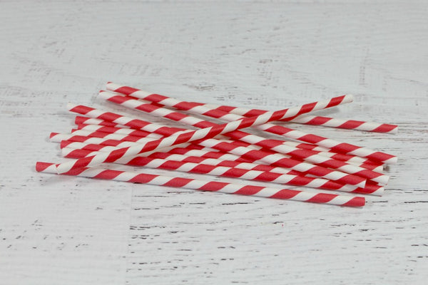 Red Stripe Paper Straws - Pop Roc Parties