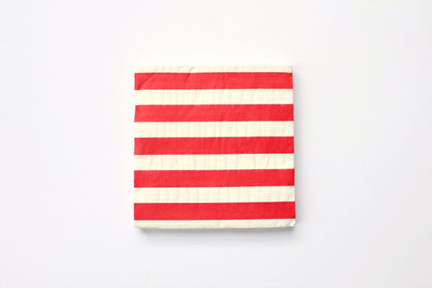 Red Horizontal Stripe Paper Napkins