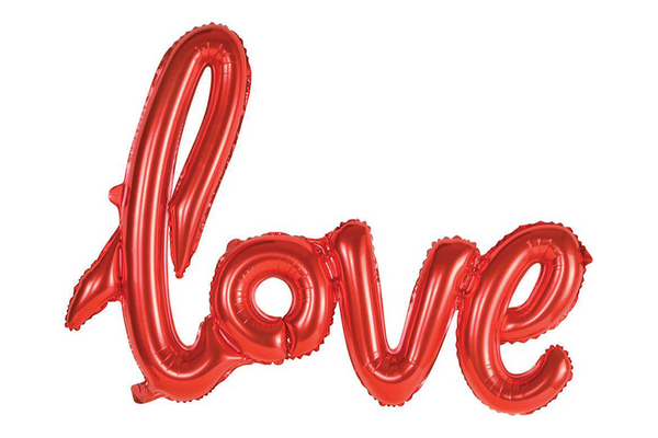 Metallic Red Foil LOVE Script Balloon