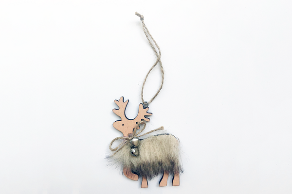 Reindeer Christmas Decoration with Fur
