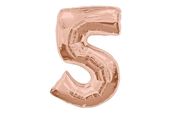 Rose Gold Number '5' Balloon - Pop Roc Parties