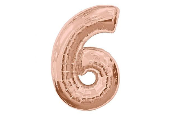 Rose Gold Number '6' Balloon - Pop Roc Parties