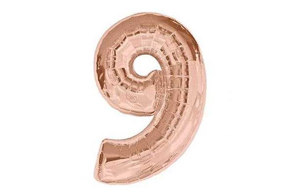 Rose Gold Number '9' Balloon - Pop Roc Parties