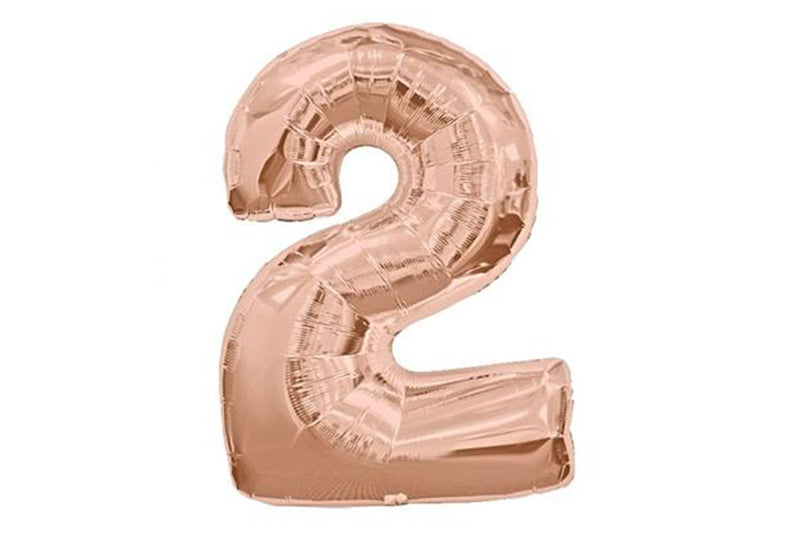 Rose Gold Number '2' Balloon - Pop Roc Parties