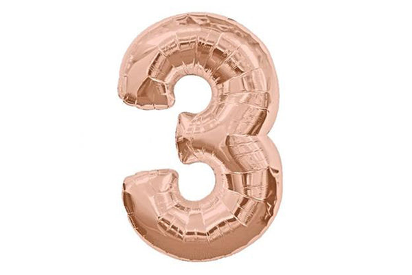 Rose Gold Number '3' Balloon - Pop Roc Parties