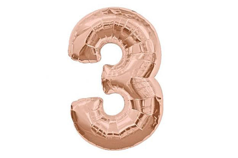 Rose Gold Number '3' Balloon