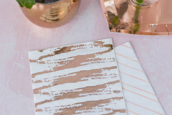 Rose Gold Cocktail Napkins | Pop Roc Parties