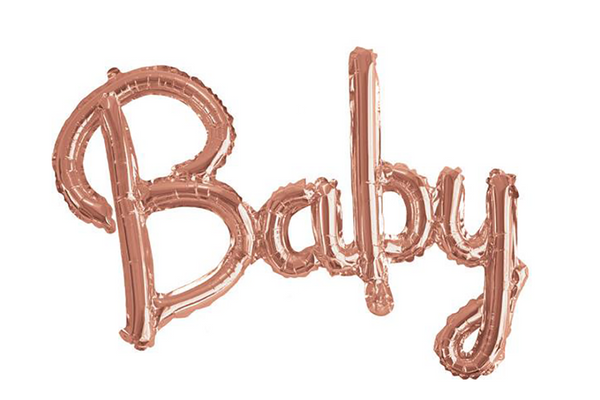 Rose Gold 'Baby' Script Balloon