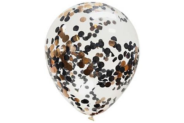Rose Gold & Black Confetti Balloon Pack | Pop Roc Parties