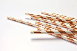 Rose Gold Foil Stripe Paper Straws - Pop Roc Parties