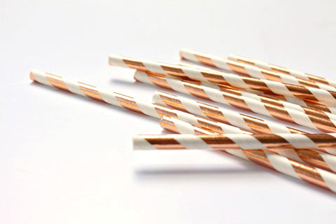 Rose Gold Foil Stripe Paper Straws