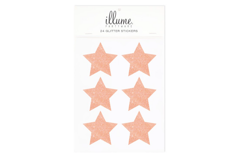 Rose Gold Star Glitter Stickers - Pop Roc Parties