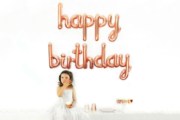 Rose Gold Foil HAPPY BIRTHDAY Script Balloon | Pop Roc Parties