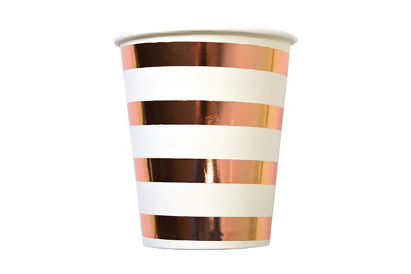 Rose Gold Stripe Paper Cups | Pop Roc Parties