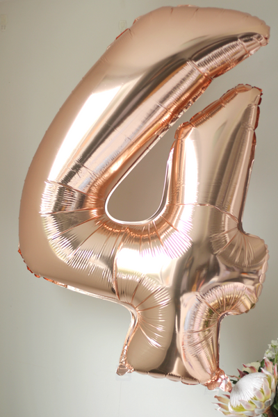 Rose Gold Number '4' Balloon - Pop Roc Parties