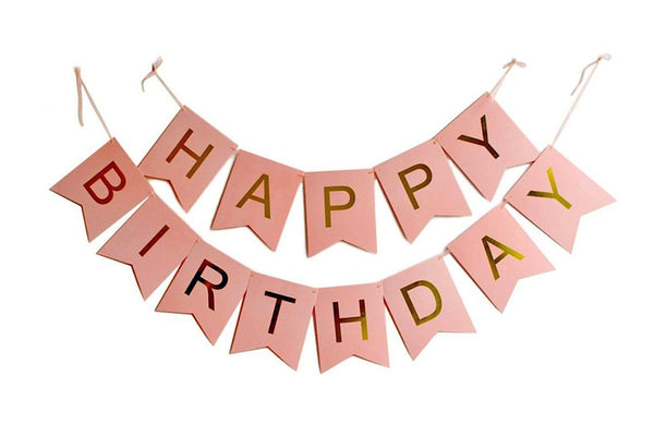 Pink & Gold 'Happy Birthday' Bunting-Pop Roc Parties