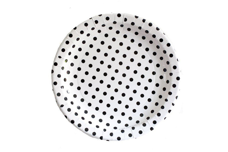 White Polka Dot Paper Plates | Pop Roc Parties