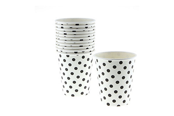 White Polka Dot Paper Cups | Pop Roc Parties
