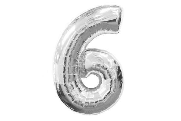 Metallic Silver Foil Number '6' Balloon - Pop Roc Parties