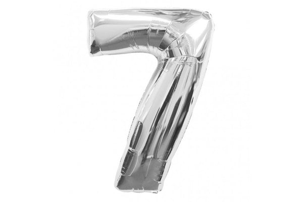 Metallic Silver Foil Number '7' Balloon - Pop Roc Parties