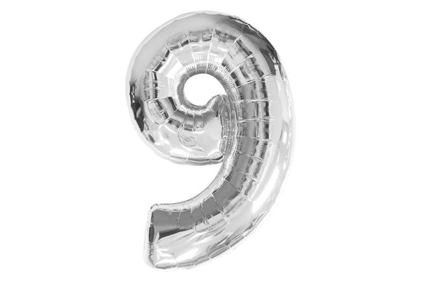 Metallic Silver Foil Number '9' Balloon - Pop Roc Parties