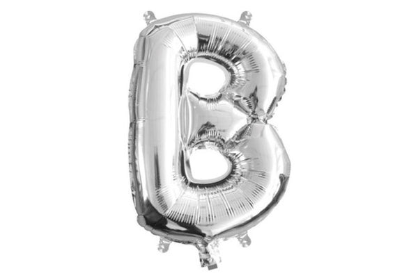 Mini Silver Foil Letter 'B' Balloon - Pop Roc Parties