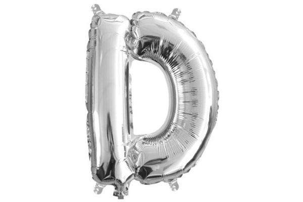 Mini Silver Foil Letter 'D' Balloon - Pop Roc Parties