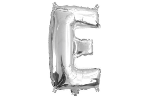 Mini Silver Foil Letter 'E' Balloon - Pop Roc Parties