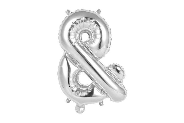 Mini Silver Foil Ampersand Balloon - Pop Roc Parties