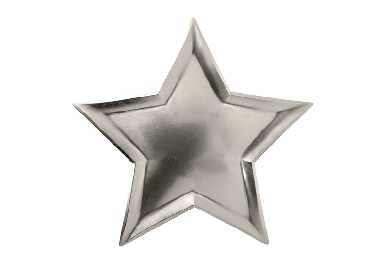 Silver Star Shaped Plates - Pop Roc Parties