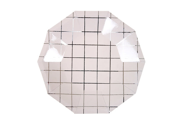 Silver Grid Plates - Pop Roc Parties