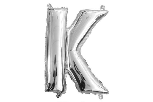 Mini Silver Foil Letter 'K' Balloon - Pop Roc Parties