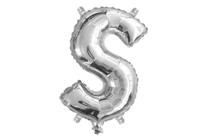 Mini Silver Foil Letter 'S' Balloon | Pop Roc Parties