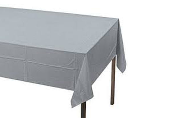 Silver Plain Plastic Table Cover - Pop Roc Parties