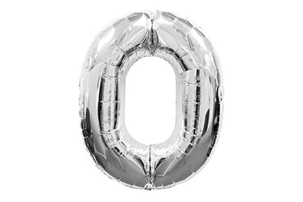 Metallic Silver Foil Number '0' Balloon