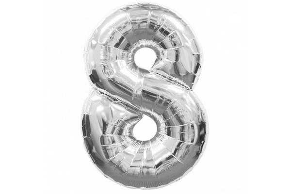 Metallic Silver Foil Number '8' Balloon - Pop Roc Parties