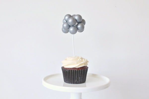 Silver Balloon Cake Topper - Pop Roc Parties