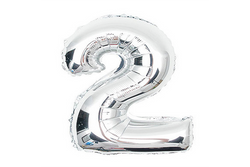 Metallic Silver Foil Number '2' Balloon | Pop Roc Parties