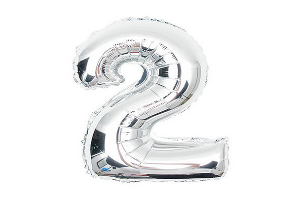 Metallic Silver Foil Number '2' Balloon - Pop Roc Parties