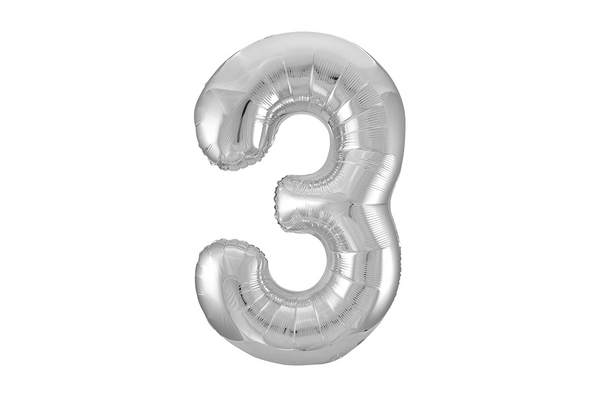 Metallic Silver Foil Number '3' Balloon - Pop Roc Parties