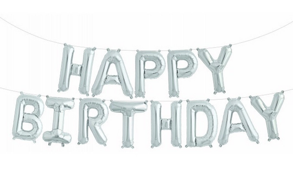 Silver Foil HAPPY BIRTHDAY Balloon Banner