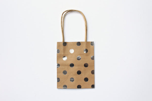 Kraft Silver Foil Polka Dot Gift Bags | Pop Roc Parties