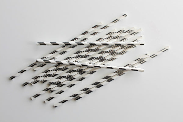 Silver Foil Stripe Paper Straws - Pop Roc Parties