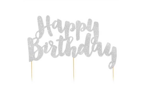 Silver Glitter 'Happy Birthday' Cake Topper - Pop Roc Parties