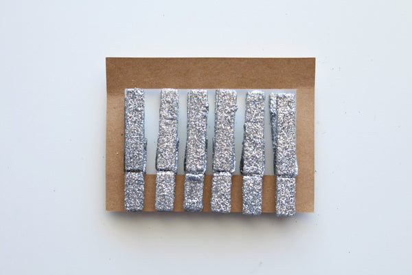 Silver Glitter Wooden Pegs - Pop Roc Parties