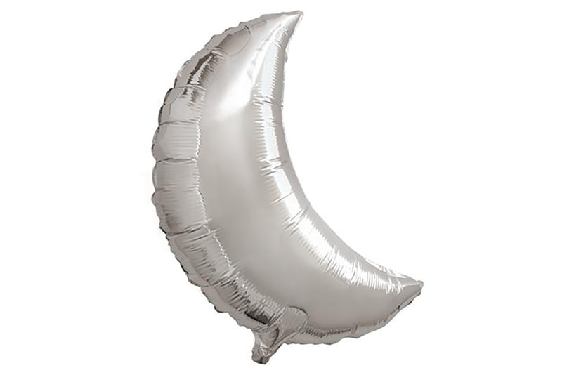 Large Silver Crescent Moon Foil Balloon | Pop Roc Parties