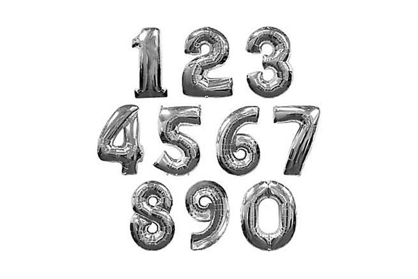 Metallic Silver Foil Number Balloons - Pop Roc Parties